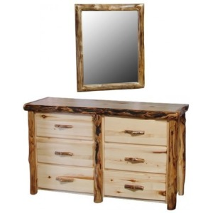 6 Drawer Dresser w/Mirror in Natural Log