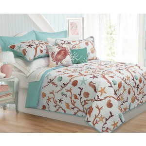 5PC Azure Quilt Set - Double/Queen