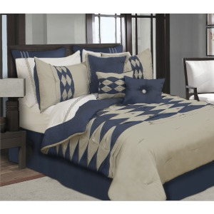 Comforter 7pc Set Zen K Navy