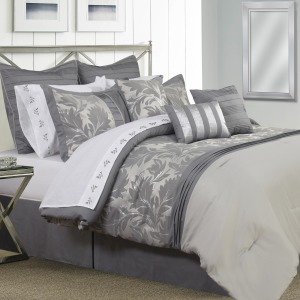 Comforter 7pc Set Vivante K Grey