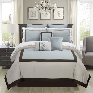 Comforter Set Palazzo 7pc K Brown/powder Blue