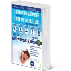 Waterproof Pillow Encasement - White 2 Pack