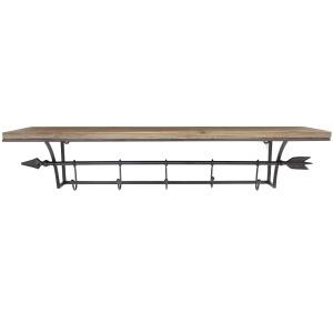 Wood Shelf W/ Black Arrow Hooks