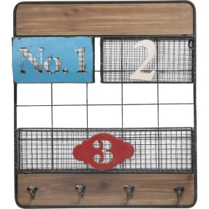 Wood Wall Organizer: Numbered baskets