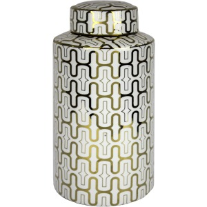 White/gold Pattern Ceramic Jar 15.5