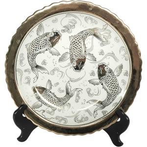 White/silver Ceramic Koi Platew/ Stand