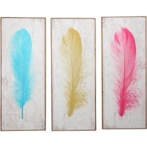 S/3 Colored Feather Wall Decor, Wb