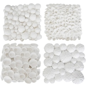 4/asst White Coral Wall Plaques