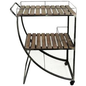 2-tier Bar Cart: Metal/wire Wood Slat