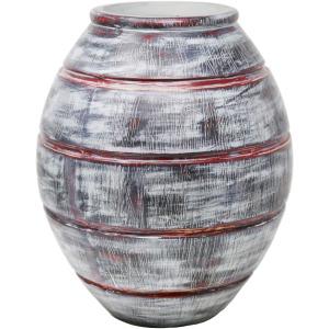 Gray/red Striped Resin Vase 12.5
