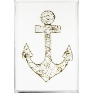 Wire Anchor Wall Art, White/gold, Window Box