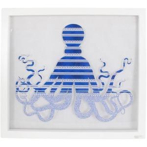 White Framed Blue Octopus Art