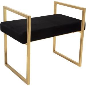 Black/gold Velveteen Bench W/handles