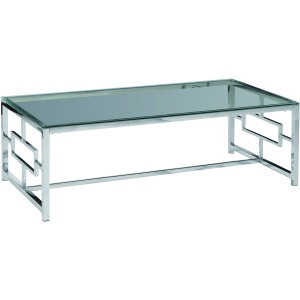 Silver Metal/glass Cocktail Table, Kd