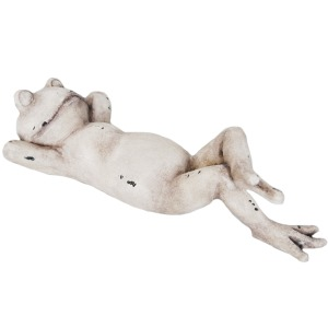 Antique White Lounging Frog, On Back