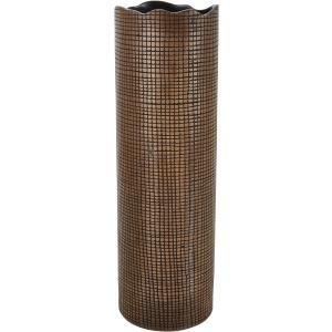 Wave Edge Brown Cylinder Vase, 20.5