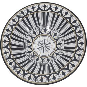 Matte White/black Bowl, Leaf Pattern