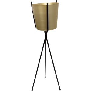 Gold Metal Planter, Black Tripod 31.5""