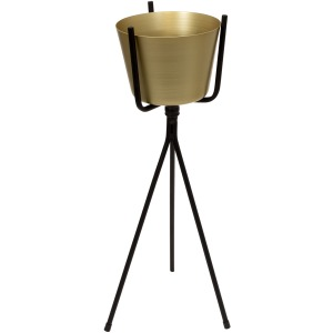 Gold Metal Planter, Black Tripod 23.75""