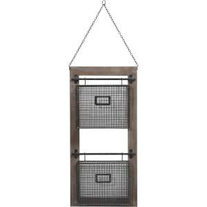 Wood/metal Basket Wall Organizer