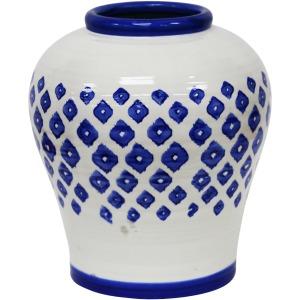 White/blue Painted Vase 10.75