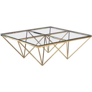 Gold Diamond Leg Cocktail Table, Glass
