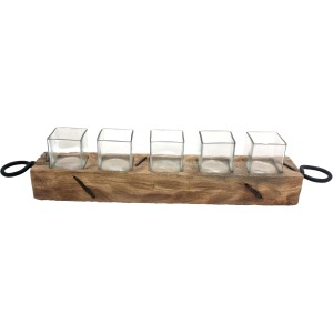 Ring Handle Wood/glass Votive Holder