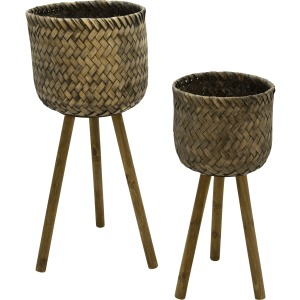 S/2 Bamboo Planters On Stands