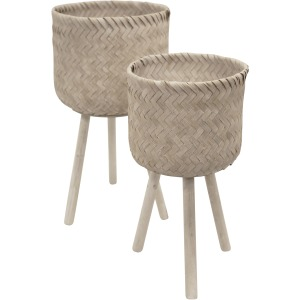 S/2 Bamboo Planters On Stands, Whitewash