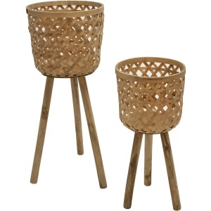 S/2 Bamboo Planters On Stands, Natural