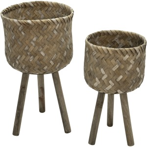"S/2 Bamboo 28/22""h Planters On Stands, Brown"
