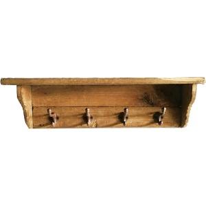 4 Hook Wood Shelf