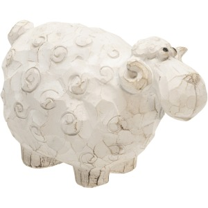 """Carved White Sheep 4.5"""""""