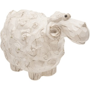 """Carved White Sheep 6.25"""""""