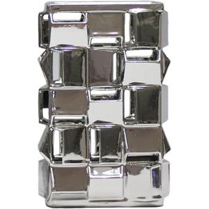 Geometric Silver Vase 12.5