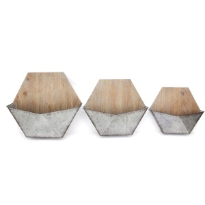 S/3 Wood/silver Wall Planters