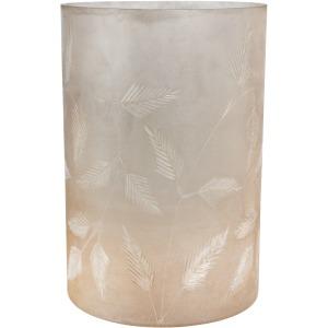 """12"""" Etched Leaf Glass Vase, Mottled Silver"""