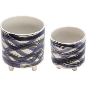 "S/2 Footed Planters 9/6"", Abstract Blue"
