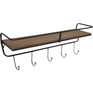 """Metal/ Wood, 24.25"""" 5 Hook Wall Shelf/ Brown"""
