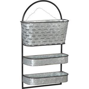 Metal 3 Tier Wall Shelf, Silver