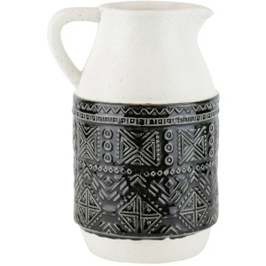 "Ceramic Pitcher W/ Geometric Pattern, 10"", Green"