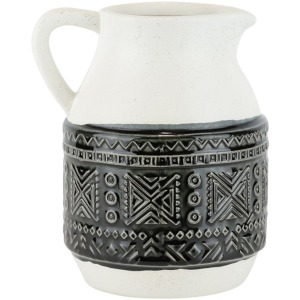 "Ceramic Pitcher W Geometric Pattern, 8"", Green"