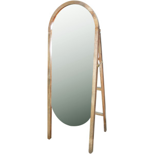 Oval Mirror w/ Wood Stand