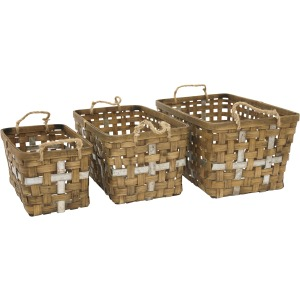 S/3 Woven Rectangular Baskets,brown