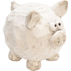 """Resin Pig Decor, 4.75"""" White"""