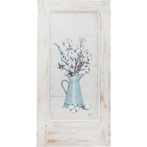 Tin Painted Floral Wall Art, Wooden Frame