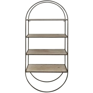 "Metal / Wood35.5"" 4 Tier Wallshelf, Brown"