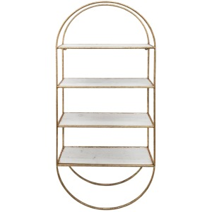 "Metal / Wood35.5"" 4 Tier Wallshelf, White/gold"