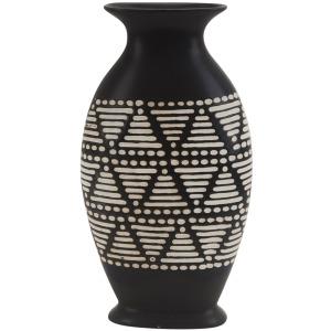 """Ceramic 14.5"""" Tribal Vase, Brown"""