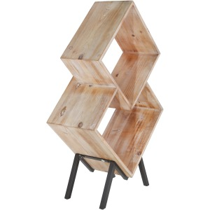 "Wood 33.75"" 2 Tier Wood Magazine Rack, Brown"